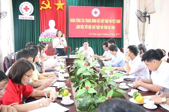 Đoàn Công tác Trung ương Hội Chữ thập đỏ Việt Nam làm việc với Hội Chữ thập đỏ Hà Tĩnh