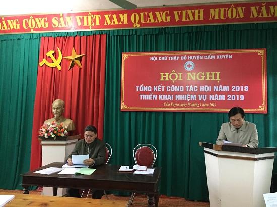 Hội Chữ thập đỏ huyện Cẩm Xuyên tổ chức Hội nghị tổng kết năm 2018, triển khai nhiệm vụ năm 2019
